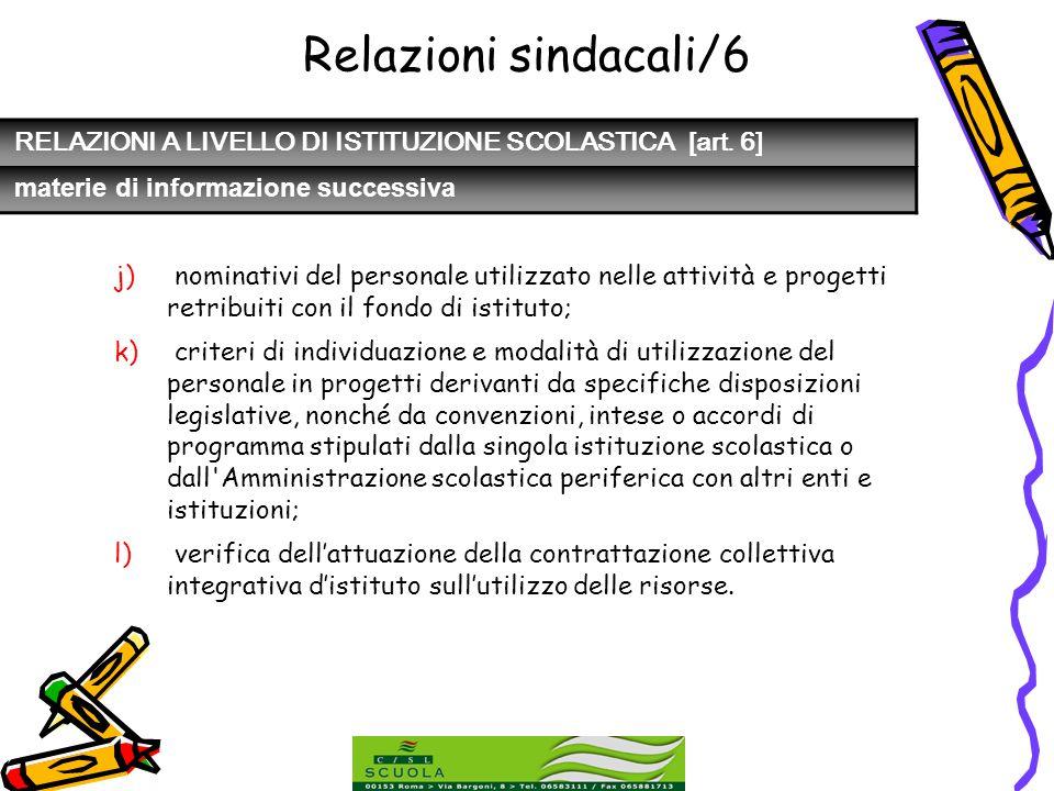 Relazioni sindacali/6 RELAZIONI A LIVELLO DI ISTITUZIONE SCOLASTICA [art. 6] materie di informazione successiva.